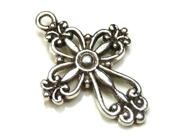 Cross Charms Double Sided Antique Silver Tone Metal - 5, 10 or 25 Pieces - 28x20mm, Very Detailed - BK33