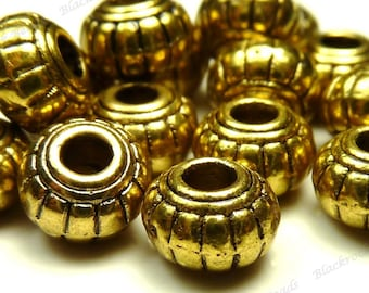 6x4mm Antique Gold Tone Metal Beads - 30pcs - BH14