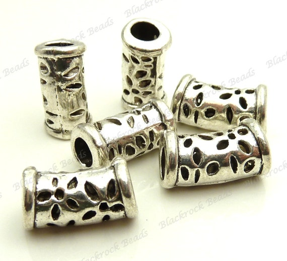 20Pcs Tibetan Silver Hollow Spacer Beads For Jewelry Making Craft 15x8mm
