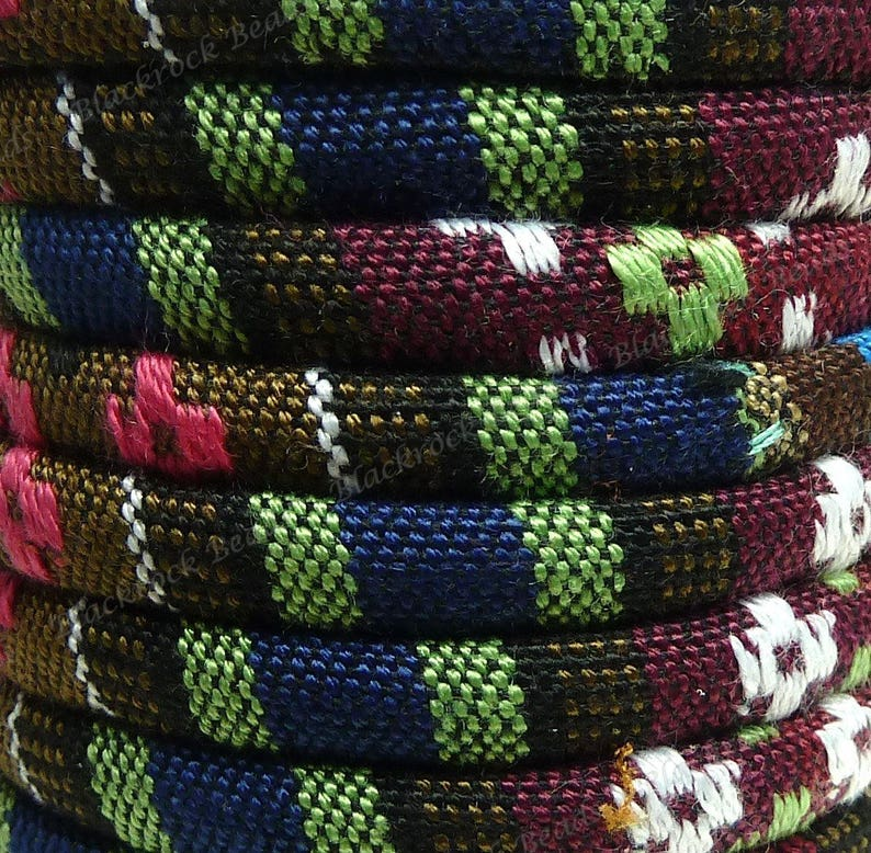 Multicolor Patterned Cloth Cord  1 Yard / 3 Feet / 0.9144 image 0