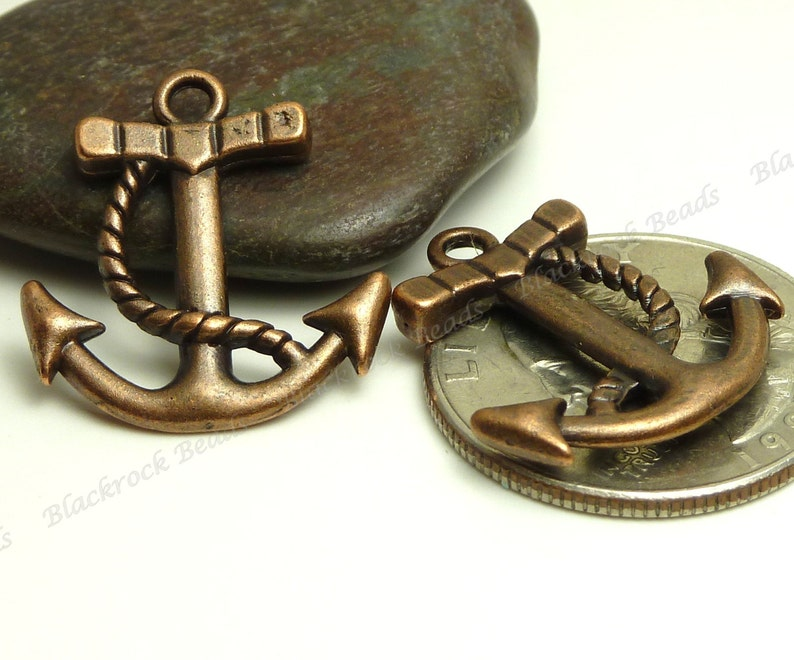 10 Antique Copper Boat Anchor Charms  Double Sided   image 0