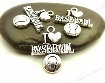 6 I Love Baseball Charms or Pendants 22x18mm Antique Silver Tone Metal - Athletic Sports Charms - BE30