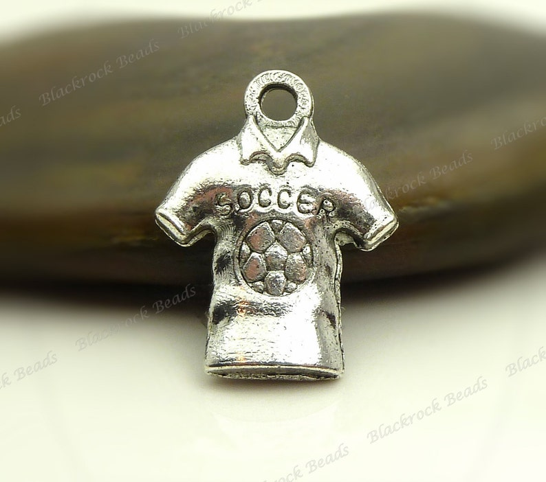 10 Soccer Shirt Charms 15x19mm Antique Silver Tone Metal  image 0