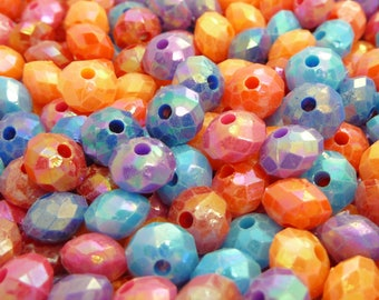 8x6mm Assorted Rondelle Acrylic Beads - 50pcs - Faceted Beads, Spacer Beads, AB Finish, Flat Round, Opaque Beads - BP33