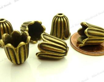 Bulk 24 Bell Shaped Bead Caps 10mm Antique Bronze Tone Metal - Scalloped Edges - BH14