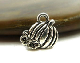 Pumpkin Charms Double Sided Antique Silver Tone Metal - 10, 25 or 50 Pieces - 11x10mm, Fall and Autumn Pendants - BH6