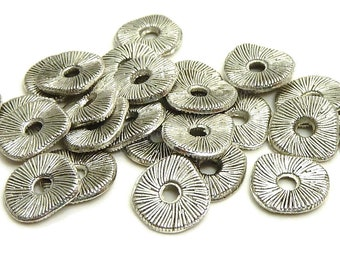 25, 50 or 100 Pieces - 7x8mm Antique Silver Tone Wavy Metal Spacer Beads - Textured, Rondelles, Spacers - BP15