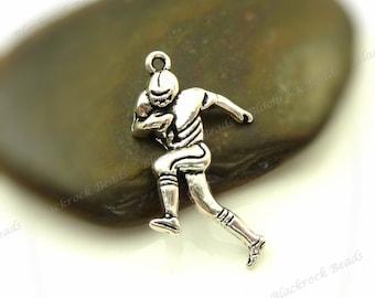 100pcs Football Player Charms - Antique Silver Tone Metal - 29x15mm Sports Pendants, Wholesale Charms - BA5