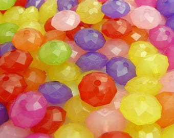 Assorted Rondelle Acrylic Beads - 20pcs - 10x6mm - Faceted Beads, Spacer Beads, Flat Round Beads, Abacus - BP33