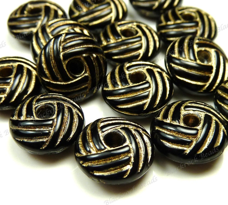 10x5mm Carved Black and Gold Acrylic Beads  25pcs  image 0