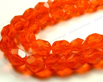 6mm Sun Orange Czech Glass Beads - 25pcs - Transparent, Faceted, Round - BD13