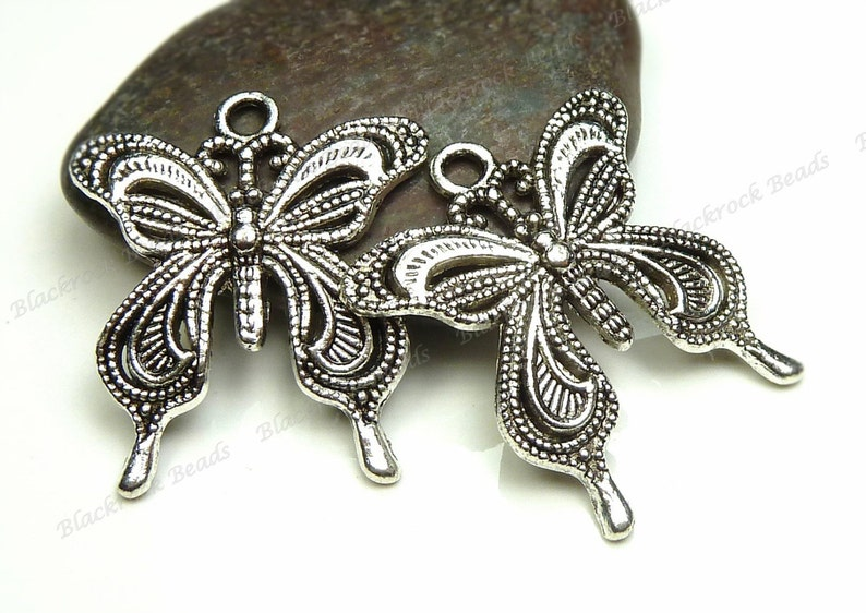 6 Butterfly Pendants 27x24mm Antique Silver Tone Metal  image 0