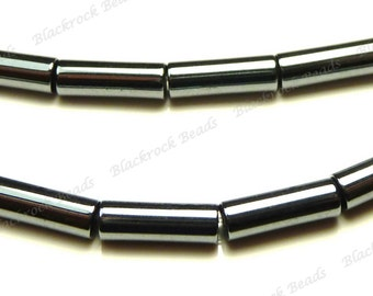 9x3mm Hemalyke Round Tube Metal Beads - 16 Inch Strand - Gunmetal, Charcoal Grey - BH27