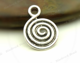 10 Swirled Charms Double Sided Antique Silver Tone Metal - 13x18mm - BB24