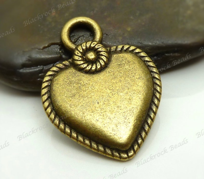Double Sided Rope Edge Pattern Bulk 18 Heart Shaped Charms Heart Pendants BA2 22x17mm Antique Bronze Tone Metal