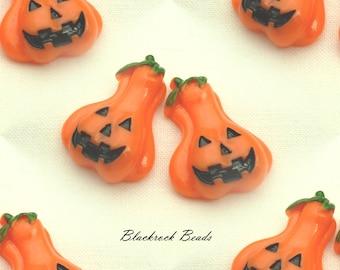 Orange Halloween Jack-o'-Lantern Resin Cabochons - 4pcs - 28x20mm - Flat Back Pumpkin Cabs, Resin Craft Supplies, Fall Cabs - BQ27