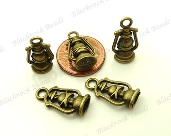 Bulk 24 Lantern Charms or Pendants (3D and Double Sided) 20x10mm Antique Bronze Tone Metal - Oil Lantern, Craft and Jewelry Supplies - BA13