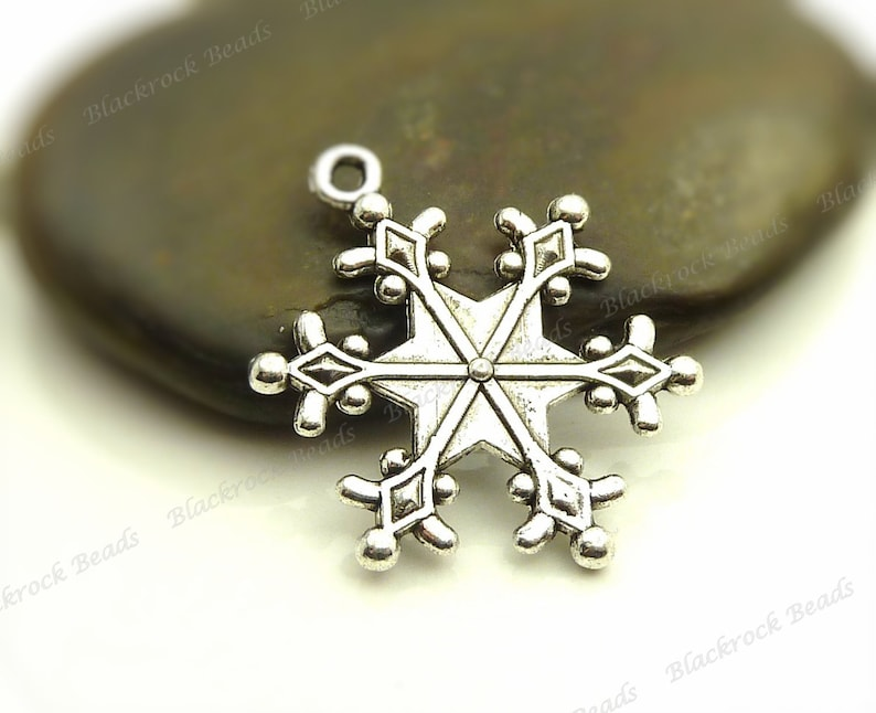 Bulk 18 Snowflake Charms Double Sided 28x24mm Antique Silver image 0