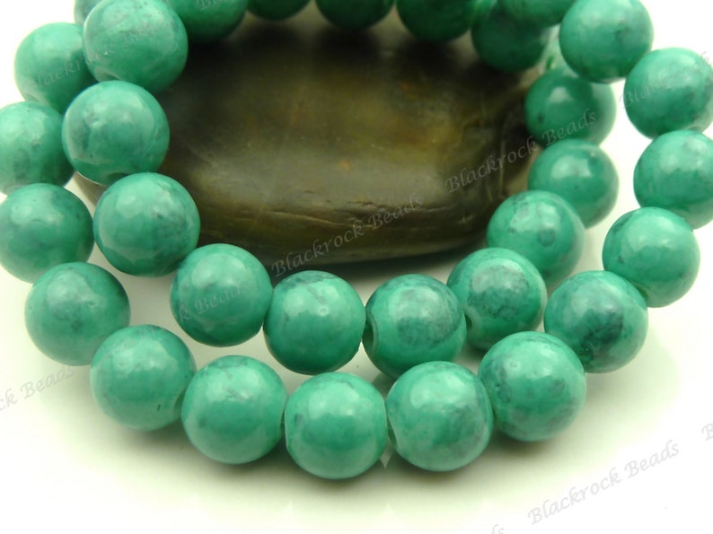 Dark Sea Green and Light Gray Swirled Round Glass Beads  6mm image 0