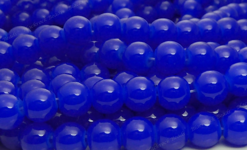 /'Blue and Lemon/' glass beads round 8mm 50 pieces