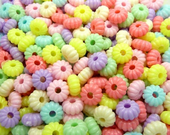 Assorted Rondelle Acrylic Beads - 50 or 100 Pieces - 8x4mm, Pastel Beads, Spacer Beads, Flat Round Beads, Abacus, Pumpkin Beads - BK21
