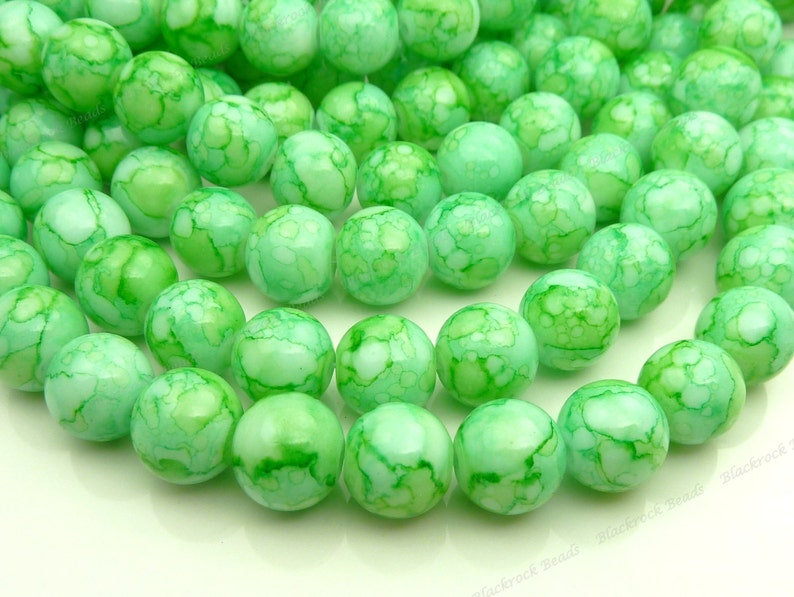 100pcs Lime Green and White Round Glass Beads  10mm Smooth image 0