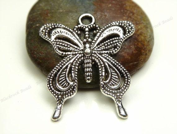 BULK 30 Butterfly pendants antique silver tone A370