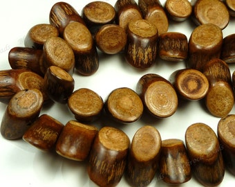 Natural Banghaw Wood Beads - 15pcs - 6x16mm to 10x24mm - Cylinder, Angle Cut, Side Drilled, Rustic Mini Logs - BT4
