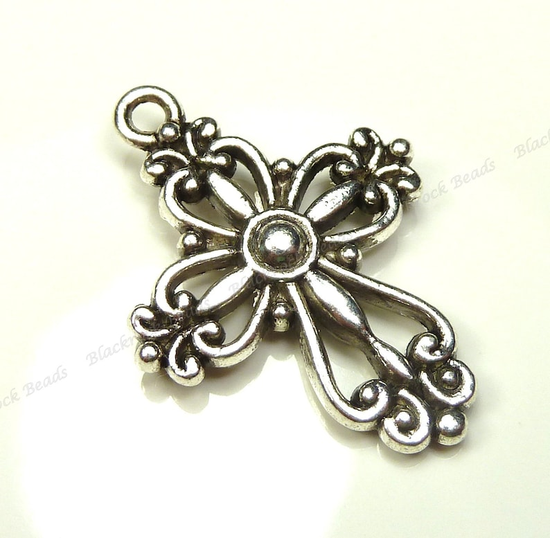 Bulk 18 Cross Charms Double Sided Antique Silver Tone Metal  image 0