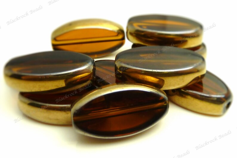 Dark Topaz Brown with Bronze Edging Oval Glass Beads  8pcs  image 0