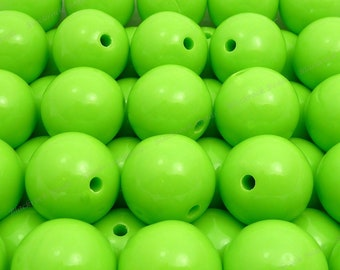 20mm Lime Green Chunky Bubblegum Beads - 10pcs - Chunky Gumball Beads, Candy Color Beads, Round Acrylic Beads - BR3-27