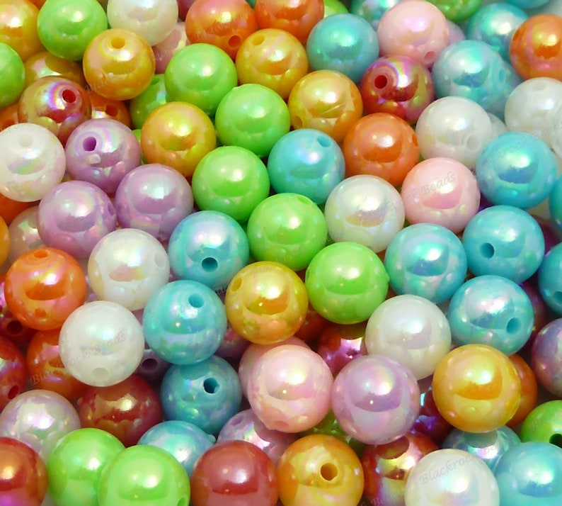 20pcs Chunky Beads BR2-19 Round Acrylic Beads Candy Color Gumball Beads 10mm Pearlized Bubblegum Beads