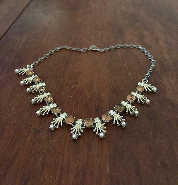 Coro Rhinestone and Pearl Necklace