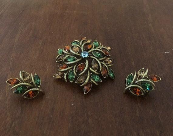 Corocraft Brooch and Earrings