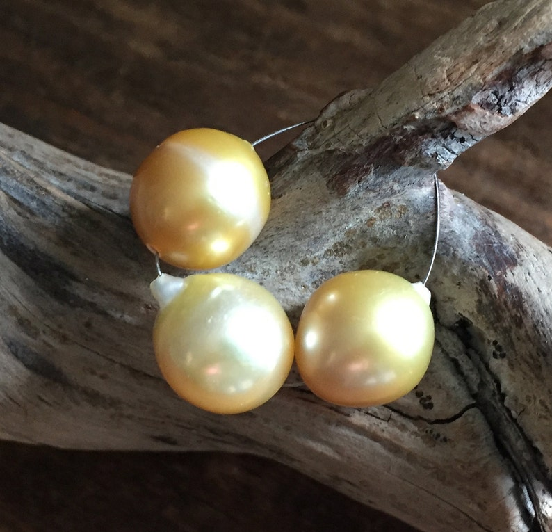 Exotic South Sea MYANMAR Baroque Pearls Creamy Gold, 12 5mm x 14mm - 15mm,  Set of 3, All Natural