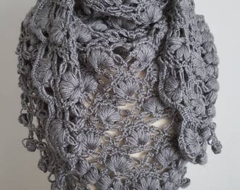 Gray Shawl, Crochet Shawl, Bridal Bolero, Handmade Cape, Bridal Wrap, Gray Bolero, Unique Shrug, Gray Wrap, Wedding cape