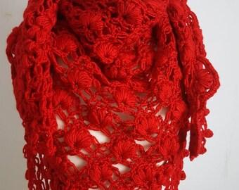 Red Wedding Shawl, Crochet Shawl, Bridal Bolero, Red Cape, Bridal Wrap, Red Bolero, Red Shrug, Red Wrap, Wedding cape, Bridal Cape