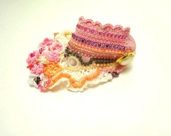Beaded Crochet Cuff,  Lace,  Colorful Beaded Crochet Bracelet and Flower bracelet, handmade bracelet