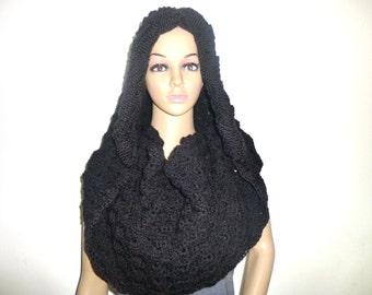 Black, Hood Scarf, Hooded Scarf, Black Scarf, Womens Scarves, Crochet Scarf