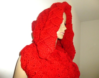 Red, Hood Scarf, Hooded Scarf, Red Scarf, Womens Scarves, Crochet Scarf