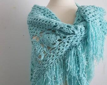 Blue Wedding Shawl, Crochet Shawl, Bridal Bolero, Blue Cape, Bridal Wrap, Blue Bolero, Blue Shrug, Blue Wrap, Wedding cape, Bridal Cape