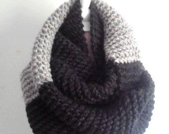 Cozy scarf, unisex handmade  knitting scarf, grey and black scarf, winter scarf, fall scarf, Infinity Scarf, Scarf, Cowl Scarf