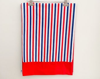 Vintage 70s Striped Twin Flat Sheet Fabric Remnants Red White and Blue