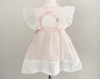 Vintage Pinafore Sheer Pink Organza Embroidered Bow Party Dress