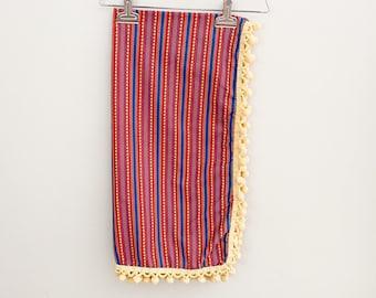 Vintage Fabric with Pom Pom Trim Bohemian Hippie 60s 70s Striped Flower Fabric Remnant
