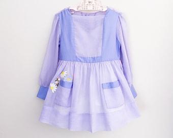 Ruth of Carolina Vintage Dress Purple Long Sleeved Flower Pocket