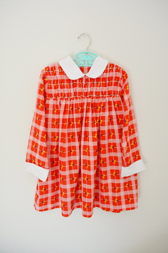Girls Vintage Dress 70's Plaid Cherries