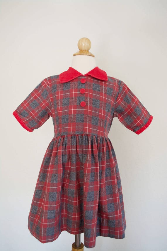 Plaid Dress 1950s Vintage by Little Star