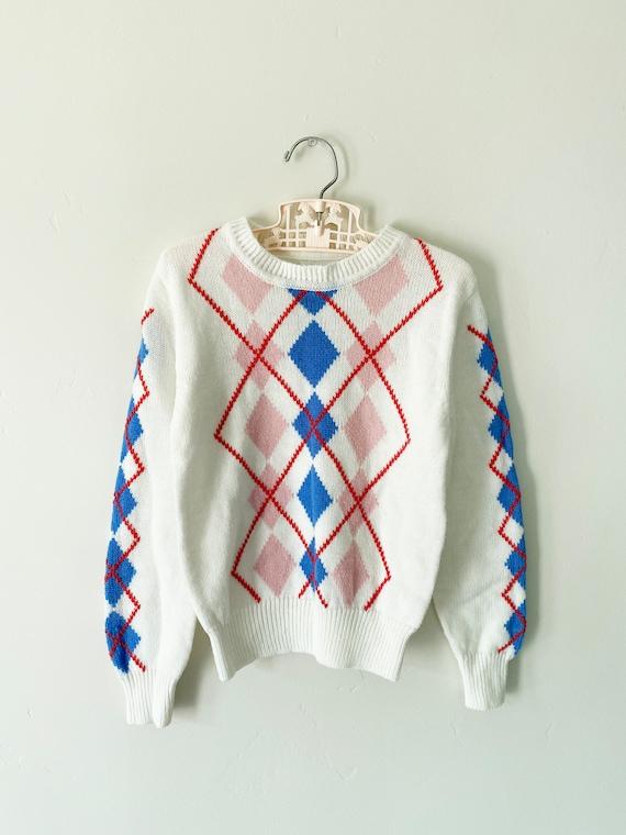 White Argyle Sweater