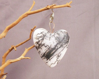 White and Black Valentine Heart Raku Horse Hair Wall relief Ornament (137)